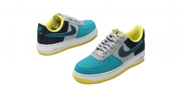 hot sale online 5e755 c4646 Nike Air Force 1 - Wolf Grey   Midnight Navy - Tropical Teal -  KicksOnFire.com