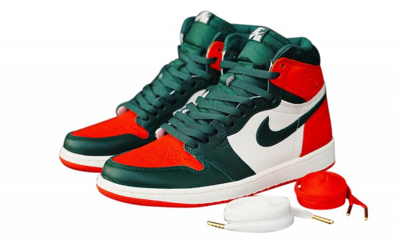 orange and green jordan 1